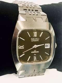 日本精工 SEIKO (emblem) Cal 2418-3020 Automatic Men Watch 機械自動全不銹鋼男仕腕錶:100% Original 罕有原裝日本本土內銷精工超靚錶面及不銹鋼錶殼 33mm 直徑連精工錶帶original Stainless Steel Case and Bracelet,working condition 運作中。