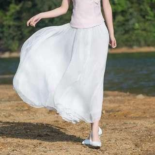🆕BRAND NEW White Maxi Chiffon Flare Skirt (with lining)