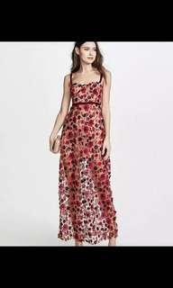 Red floral lace sequin dress