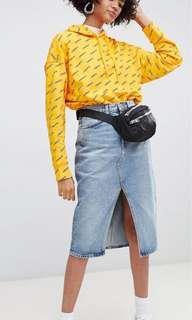 🚚 Denim Skirt with Front Split and Raw Hem