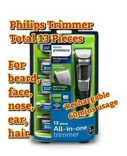 Philips Norelco Multi Groomer MG3750/50 - 13 piece, beard, face, nose, and ear hair trimmer and clipper