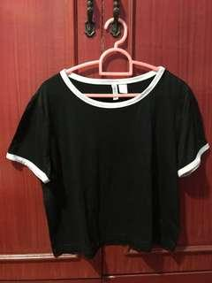 H&M black cropped top