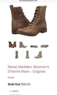 steve madden charrie lace up boots in cognac
