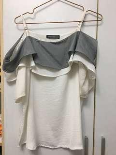 🚚 Queenshop 露肩雪紡上衣 #半價衣服市集