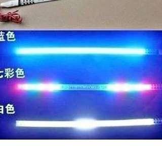 汽車中網裝飾燈 超亮LED爆閃燈 呼吸跑馬軟膠燈條
