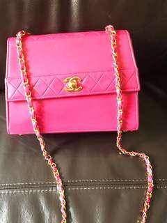 Chanel vintage hot pink single chain trapezoid quilted bag