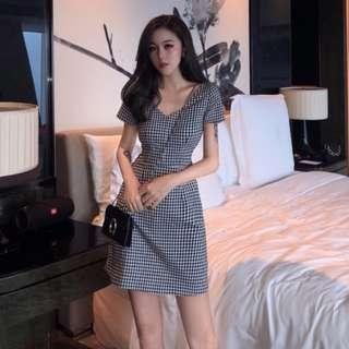 [INSTOCKS] Gingham Checkered Plaid V Neck Dress