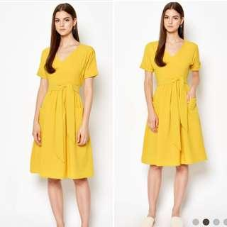 🚚 Love & Bravery - YONE Midi Pocket Dress Mustard