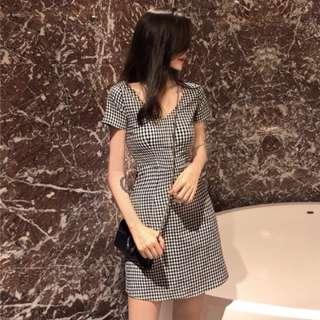 [INSTOCKS] Gingham Plaid Checkered V Neck Basic Dress