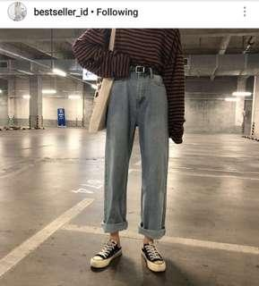 Blue Straight Wide Denim - Jeans - Boyfriend Jeans - Pants