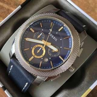 Fossil Machine Navy Blue Dial Chronograph Men's Watch