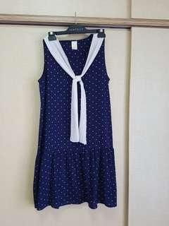 Jovet polka dot navy babydoll Sailor Dress (XL)