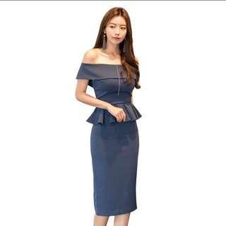 🚚 Blue OL Office Dress