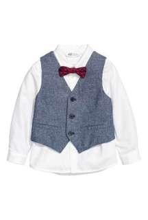 NEW Original H&M Boy White Shirt with Best and Bow Tie