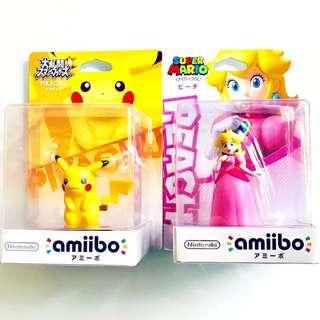 Nintendo Amiibo Princess Peach, Pikachu Super Smash Bros.Series Figure