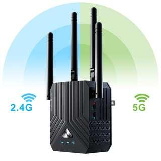 U2468 Coredy WiFi Range Extender, AC1200 Dual Band Mini WiFi Repeater, Wi-Fi Signal Booster, Wireless Access Point with 4 Ethernet Antennas, Extending WiFi to Whole Home and Garden (Prescitech X12)