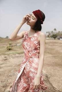 Red flowery dress
