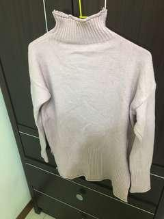 🚚 [二手]微高領粉色針織上衣