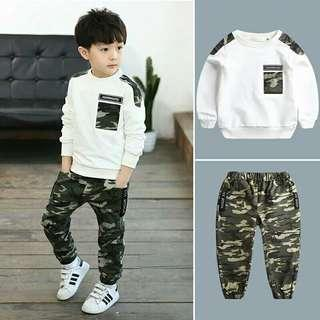 🚚 Sets Kids Boys Clothes Set Long Sleeve Spring T Shirt Top+ Camo Camouflage Pants 2Pcs Outfits Sports Set Children Boy Clothes 5-9T