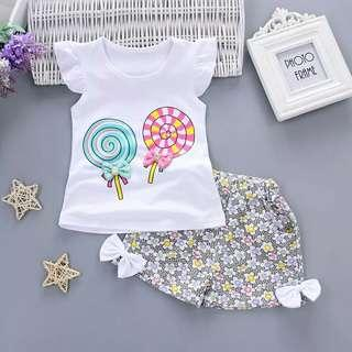 🚚 Sets girl Toddler Kids Baby Girls Outfits Lolly T-shirt Tops+Short Pants Clothes girls sets clothing