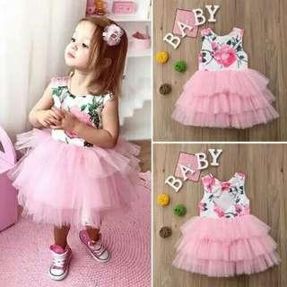 🚚 Baby Flower Lace Girls  dress Baptism Christening Dress sleeveless lace tutu tulle dress Birthday Party Tutu Dresses