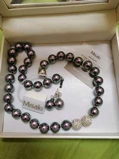 Misaki purple black pearl necklace & earrings.