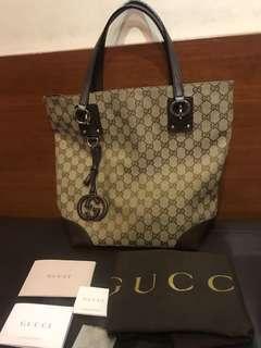 Gucci Charm Medium Tote GG Canvas.