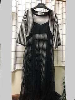 購自利是 間條配連身紗裙