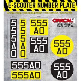 🚚 escooter number plate sticker (* Ours not printed, we use better type- PVC cut material) price include mailing.