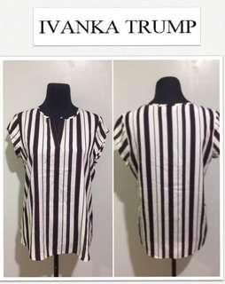 Ivanka Trump Cap Sleeve Lightweight Vertical Striped Top