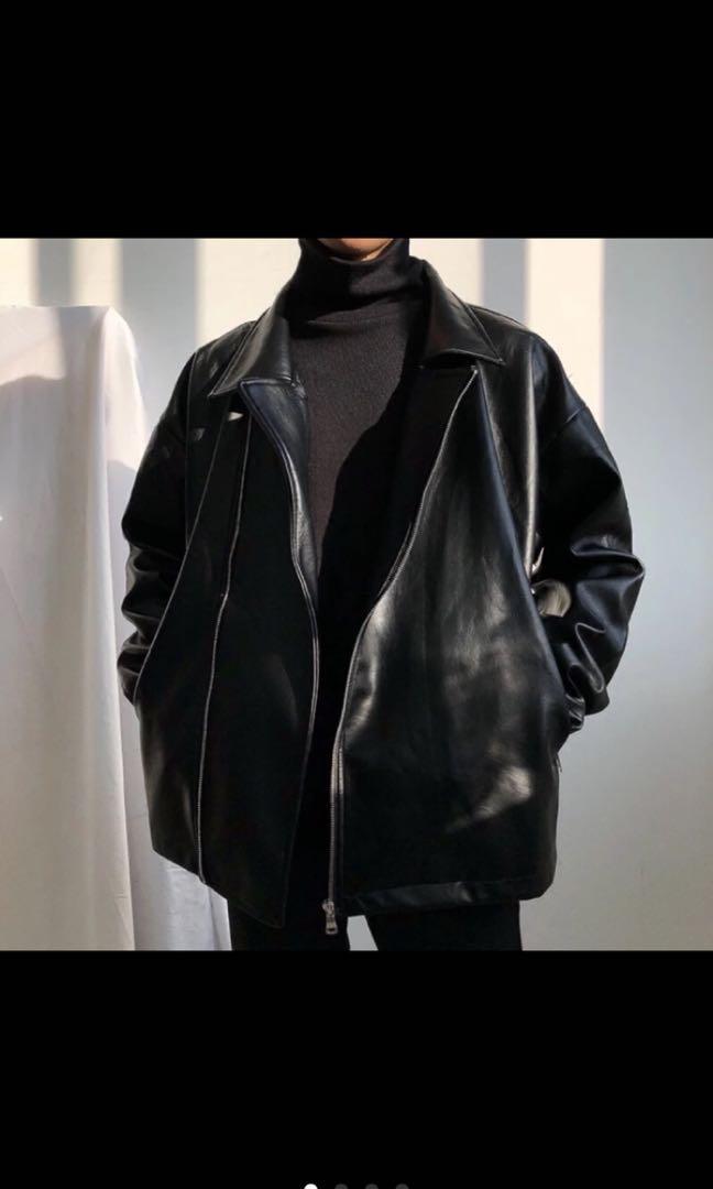 超好看黑色龐克皮衣