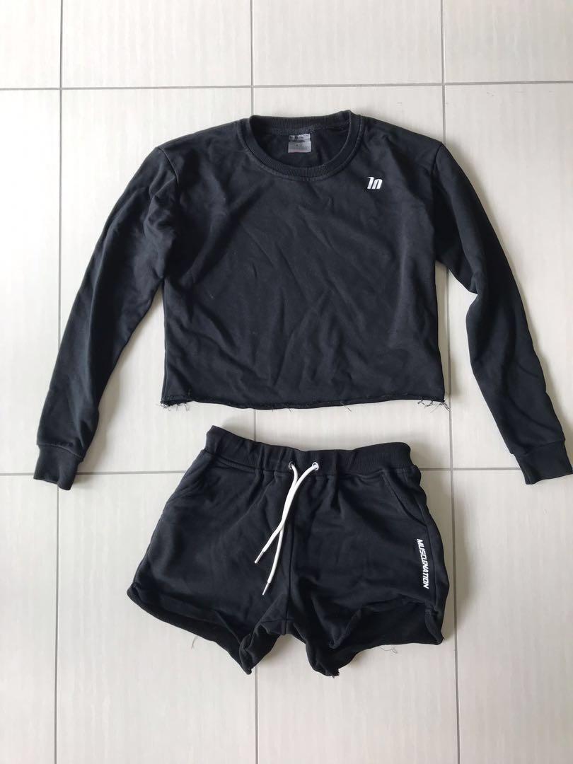 ‼️ Musclenation crop sweater and shorts SET size XS black