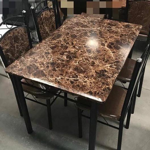 Affordable Brown marble effect dining table and four chairs sale!