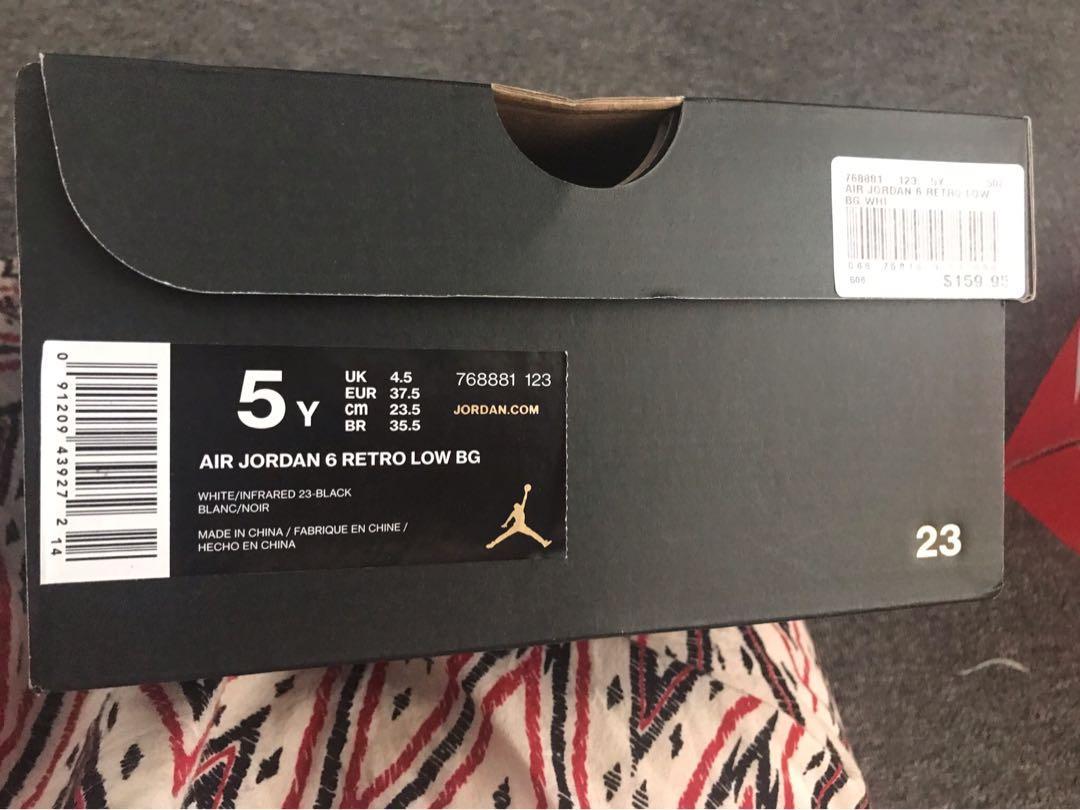 Air Jordan's 6 Retro low shoes, worn once