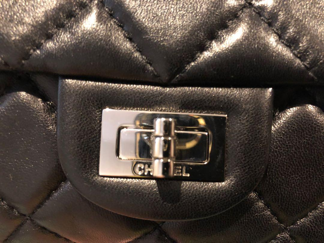 Authentic CHANEL reissue clutch rolled handle quilted lambskin