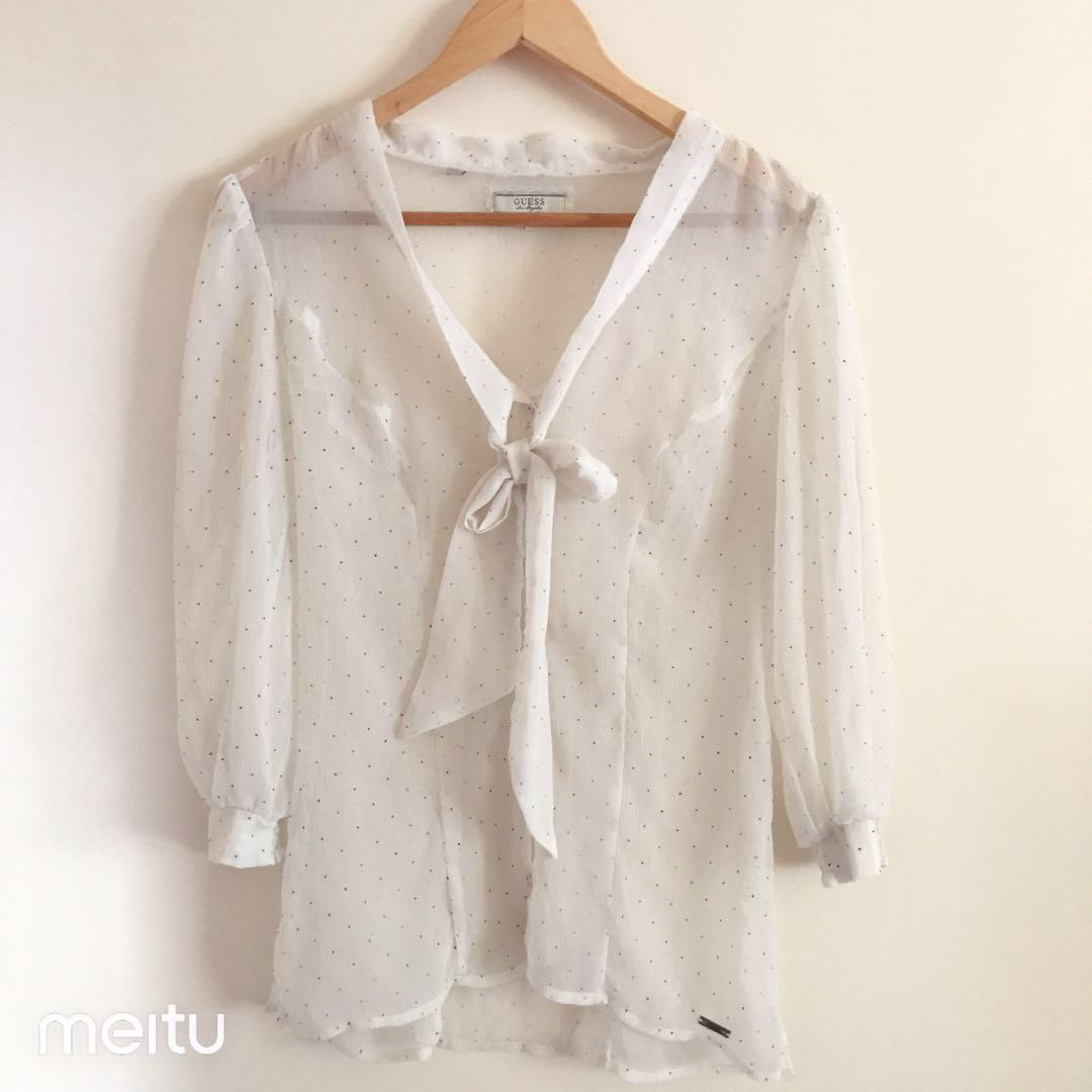 Authentic guess vintage polka dot sheer blouse