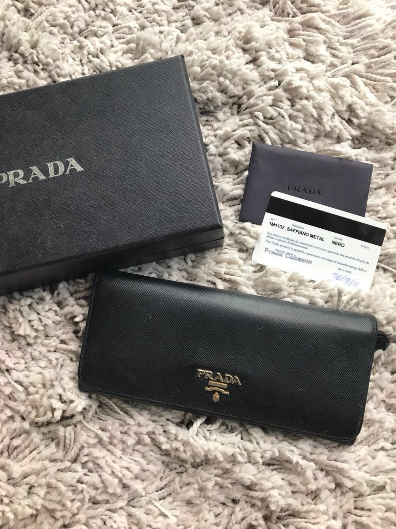 7679a754f00a Authentic Prada Saffiano Wallet in Black, Luxury, Bags & Wallets ...