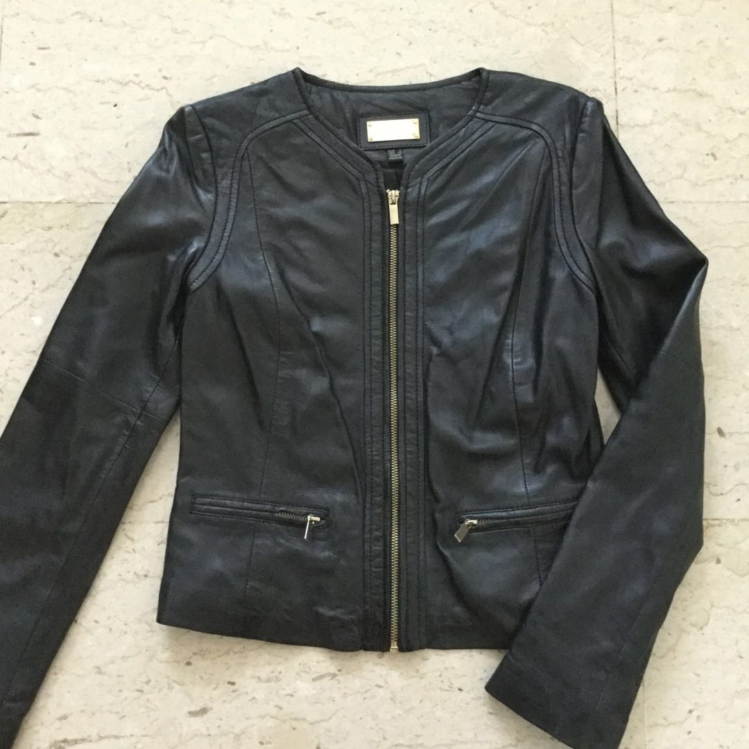 Bn Mango Ladies Black Genuine Sheep Leather Jacket Size S Women S