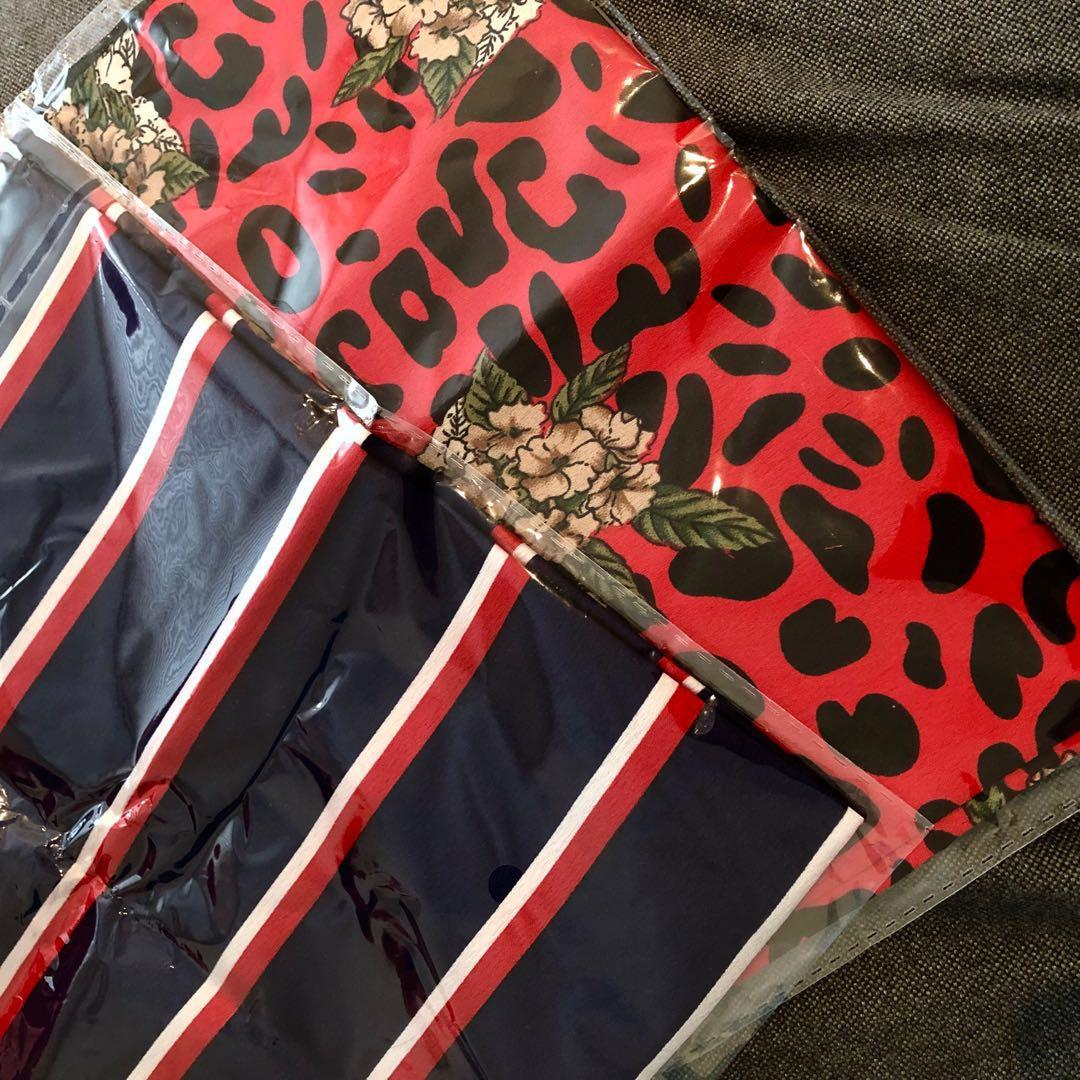 Brand new square head, neck bag scarf red leopard print with flower black