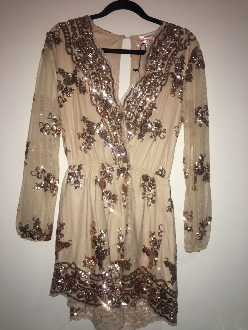 Brand new with tag size 10 sequins gold long sleeve jumpsuit