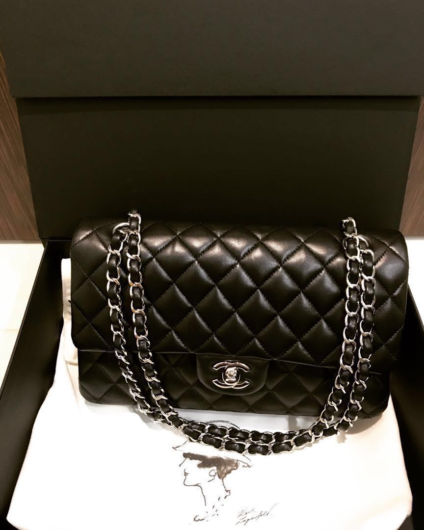 00ba6829f65f Chanel Classic Double Flap Shoulder Bag Quilted Lambskin Silver ...