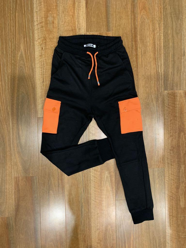 Christian Lines Black with Orange Panel Pocket Joggers