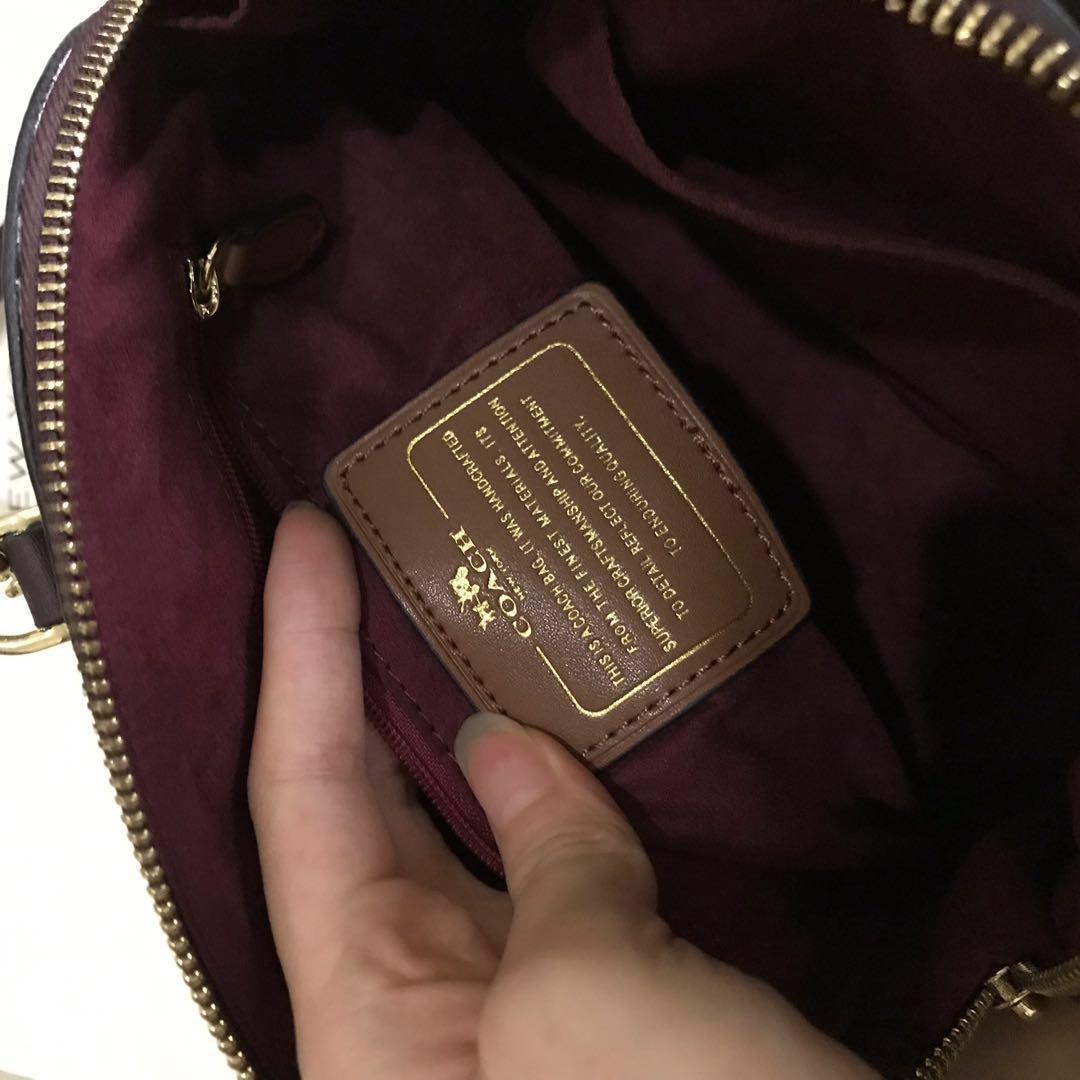 Coach Mini Sierra Debossed Oxblood Slingbag Satchel Maroon Signature Patent Leather
