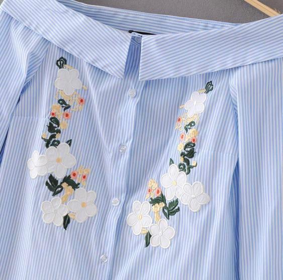 Embroided Shirt (Off-shoulder)
