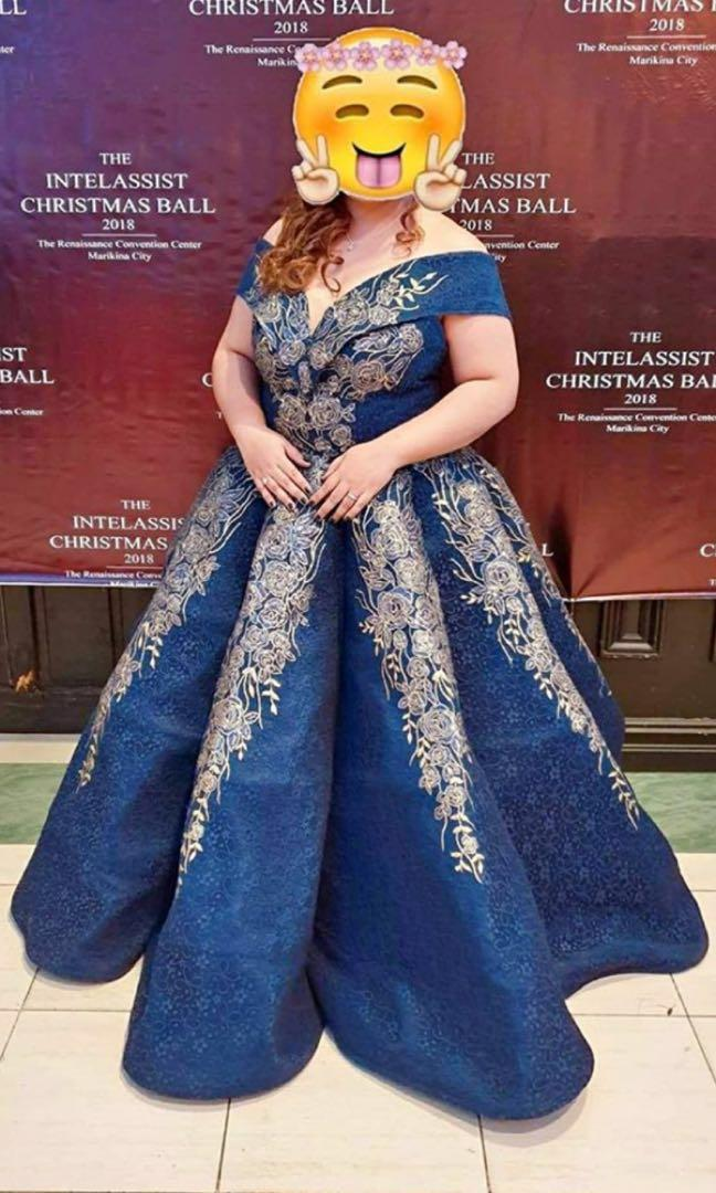 FOR RENT: DARK BLUE BALL GOWN FOR PLUS SIZE, Women\'s Fashion ...