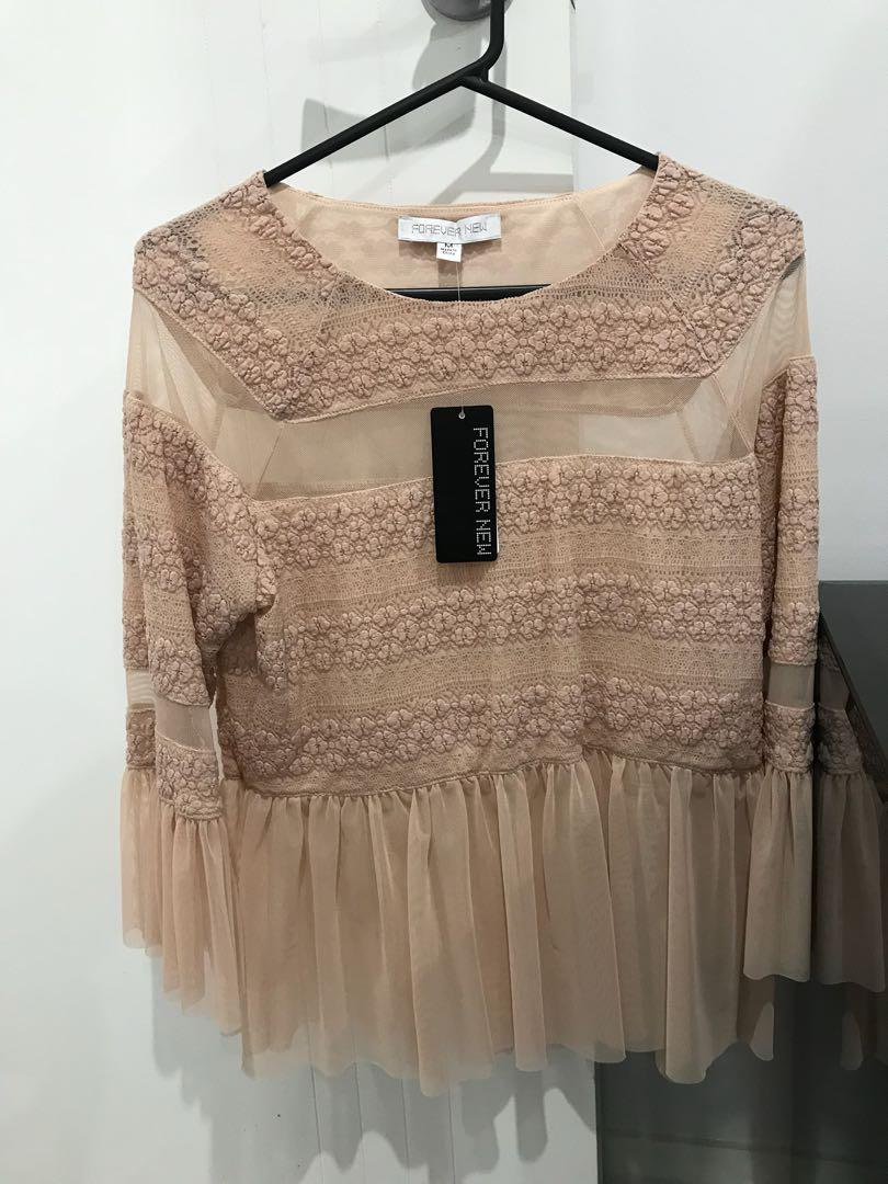Forever new mesh frill top - M