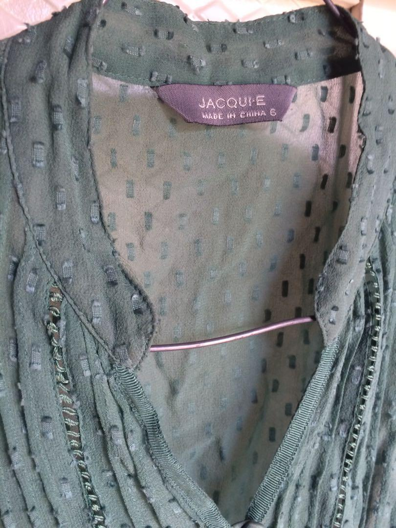 Green sheer button up lace top