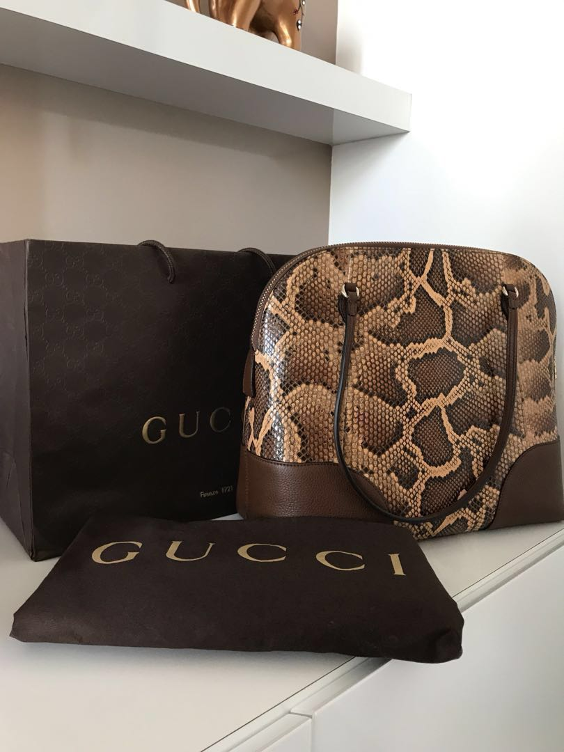 0a5782d21726 Gucci 100% authentic snake skin caramel gold Bnib, Luxury, Bags ...