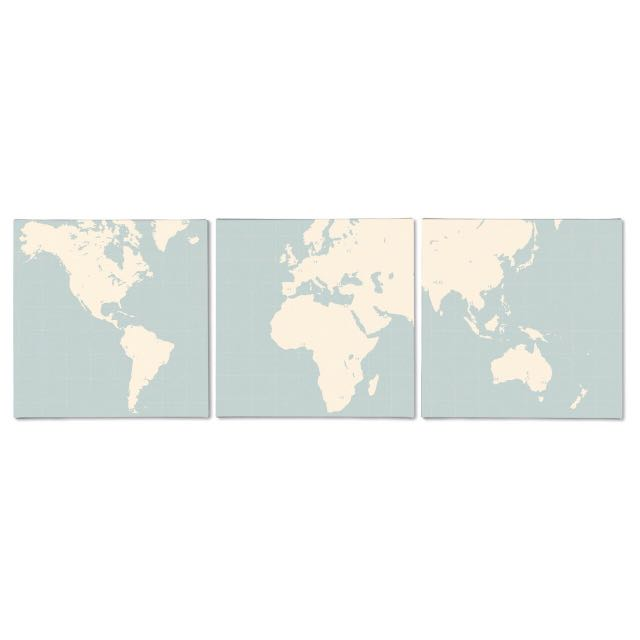 Ikea Map Canvas (Set of 3), Design & Craft, Art & Prints on Carousell