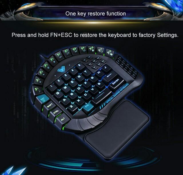 M21) AULA USB Wired Single Hand Keyboard RGB LED Backlight